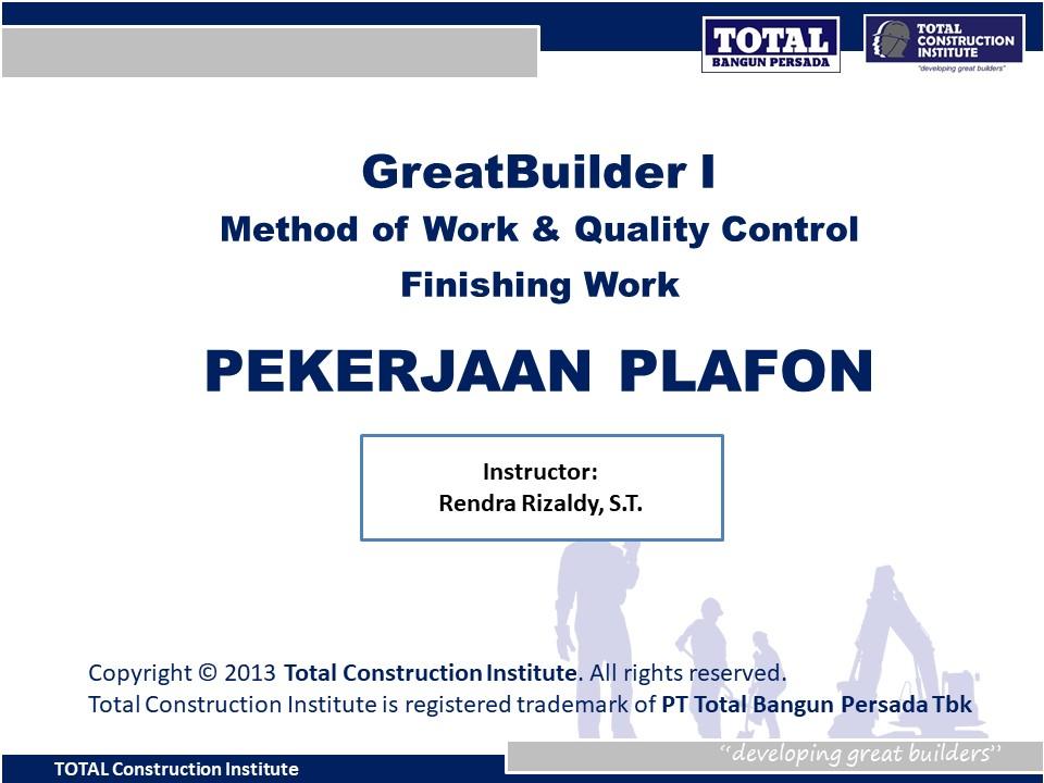 Course Image Pekerjaan Plafon I